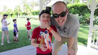 Nerf War:  Superhero Kids vs Twin Toys