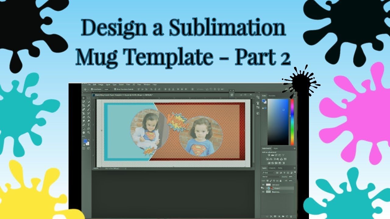 How To Create A Mug Template For Sublimation Printing Tutorial Part 2 Ps Shape Tool Step By Step