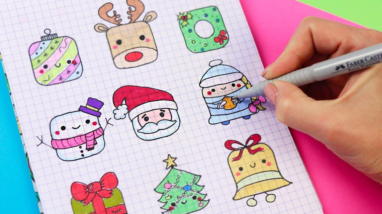 9 Квадратные НОВОГОДНИЕ рисунки ПО КЛЕТОЧКАМ! Часть 4. Простые рисунки для детей