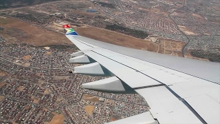 South African Airways A340-600 Cape Town-Johannesburg Safety, Takeoff, Inflight, Landing
