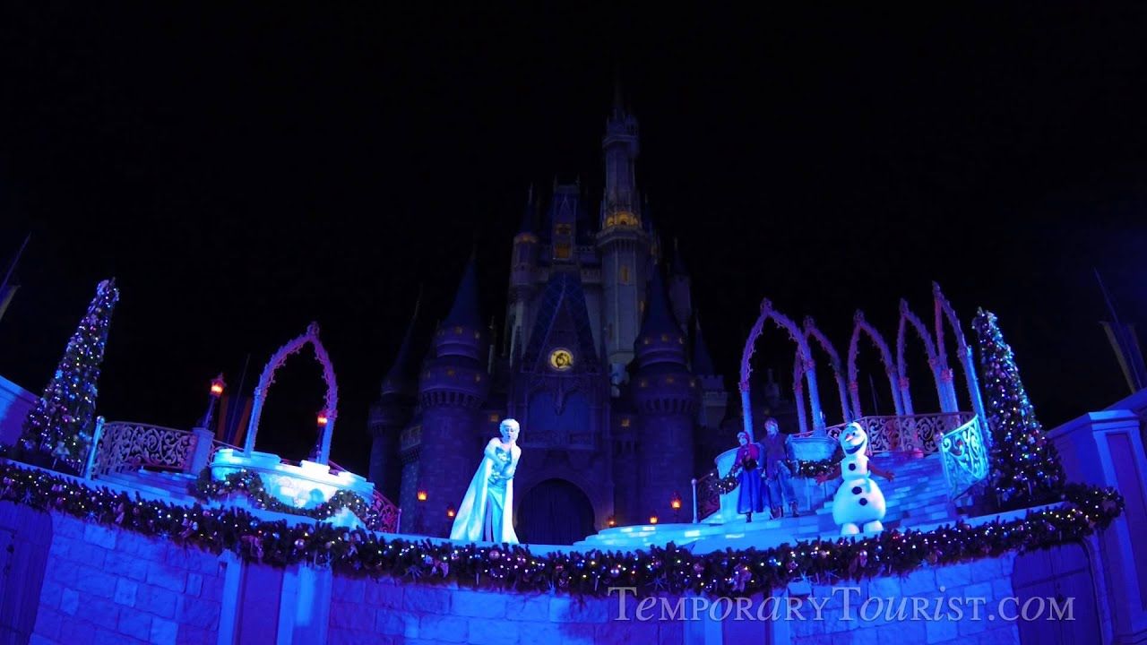A Frozen Holiday Wish Castle Lighting Show At Walt Disney World Magic Kingdom 2014