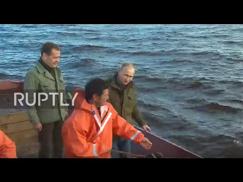 Russia: Putin and Medvedev join fishing expedition on Lipno Island