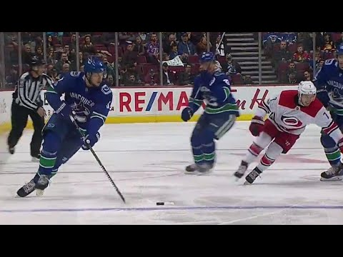 Canucks' Pouliot cuts to the middle and snipes on Hurricanes' Darling