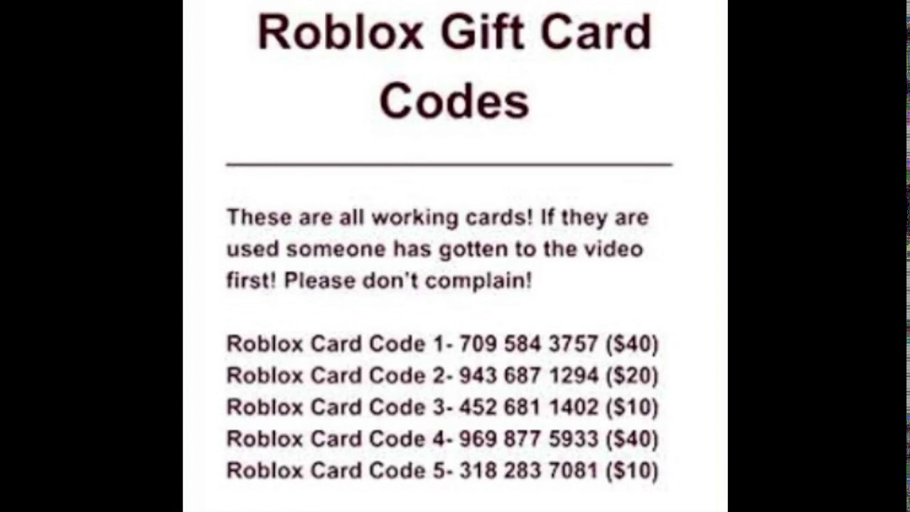 Free Roblox Gift Card Codes Youtube