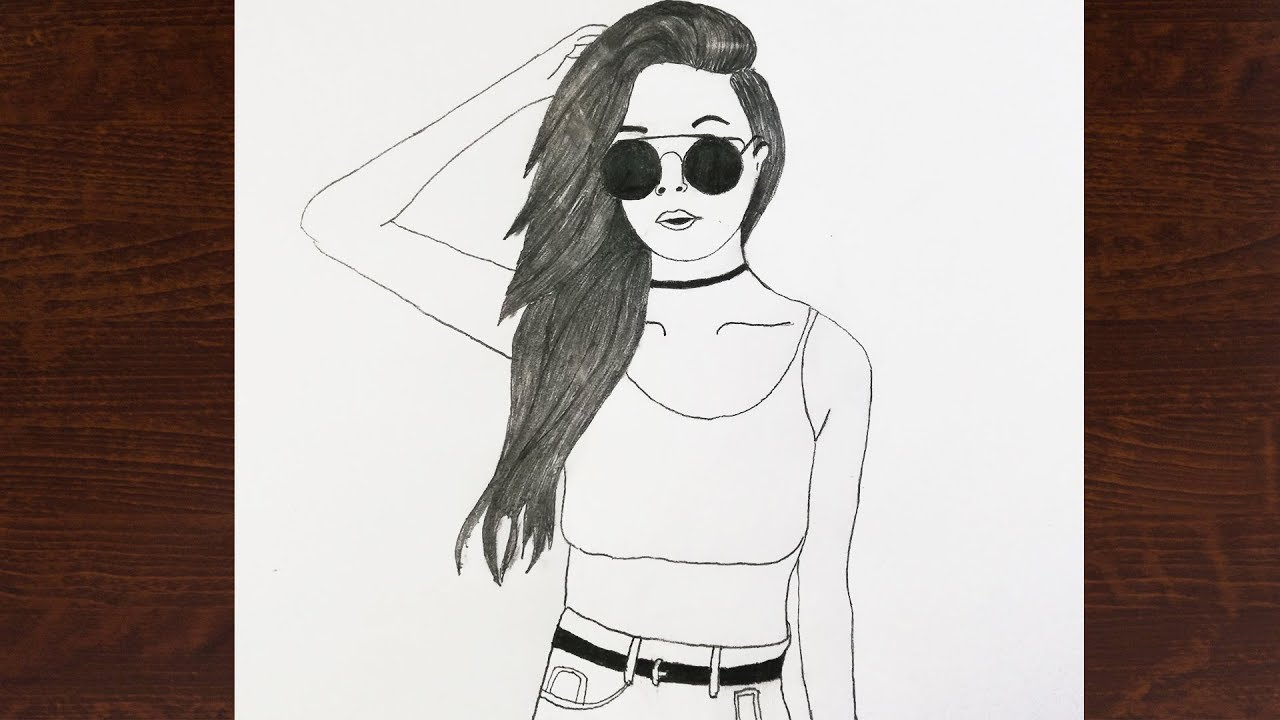 How To Draw A Girl With Sunglasses Stylish Girl Pencil Sketch Youtube