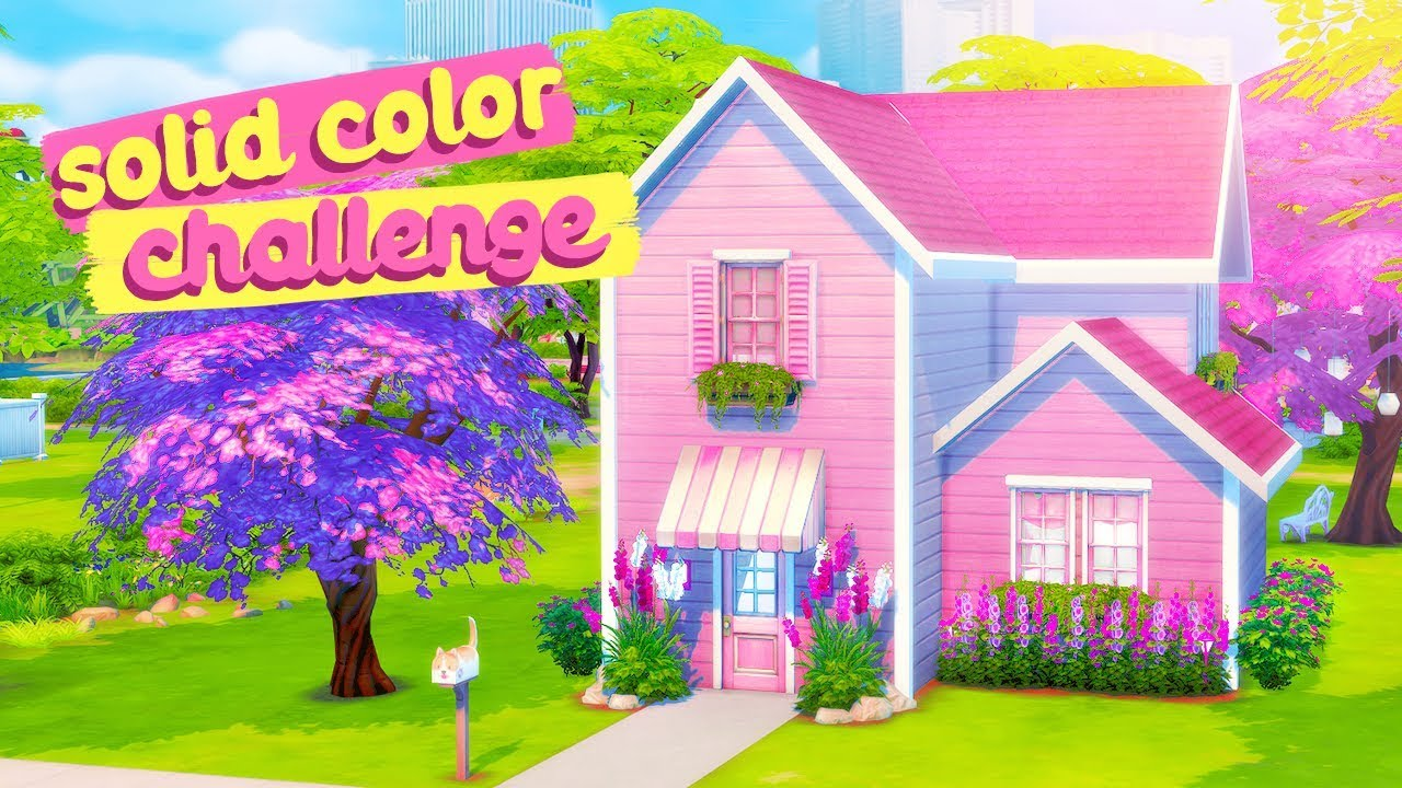 SOLID COLOR BUILD CHALLENGE 💖 // The Sims 4: Speed Build - YouTube