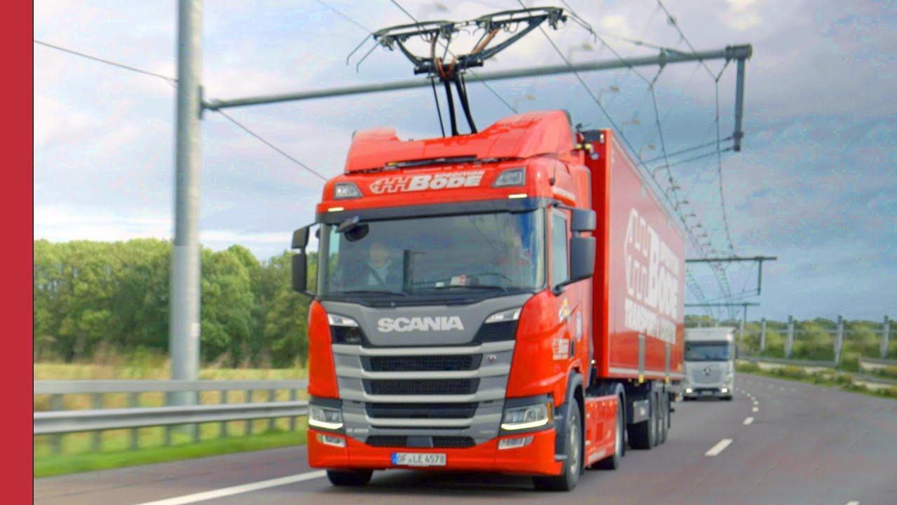 The highway where trucks work like electric trains
