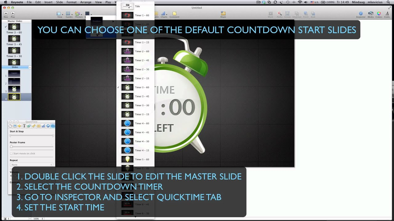 set the time countdown timer for keynote youtube