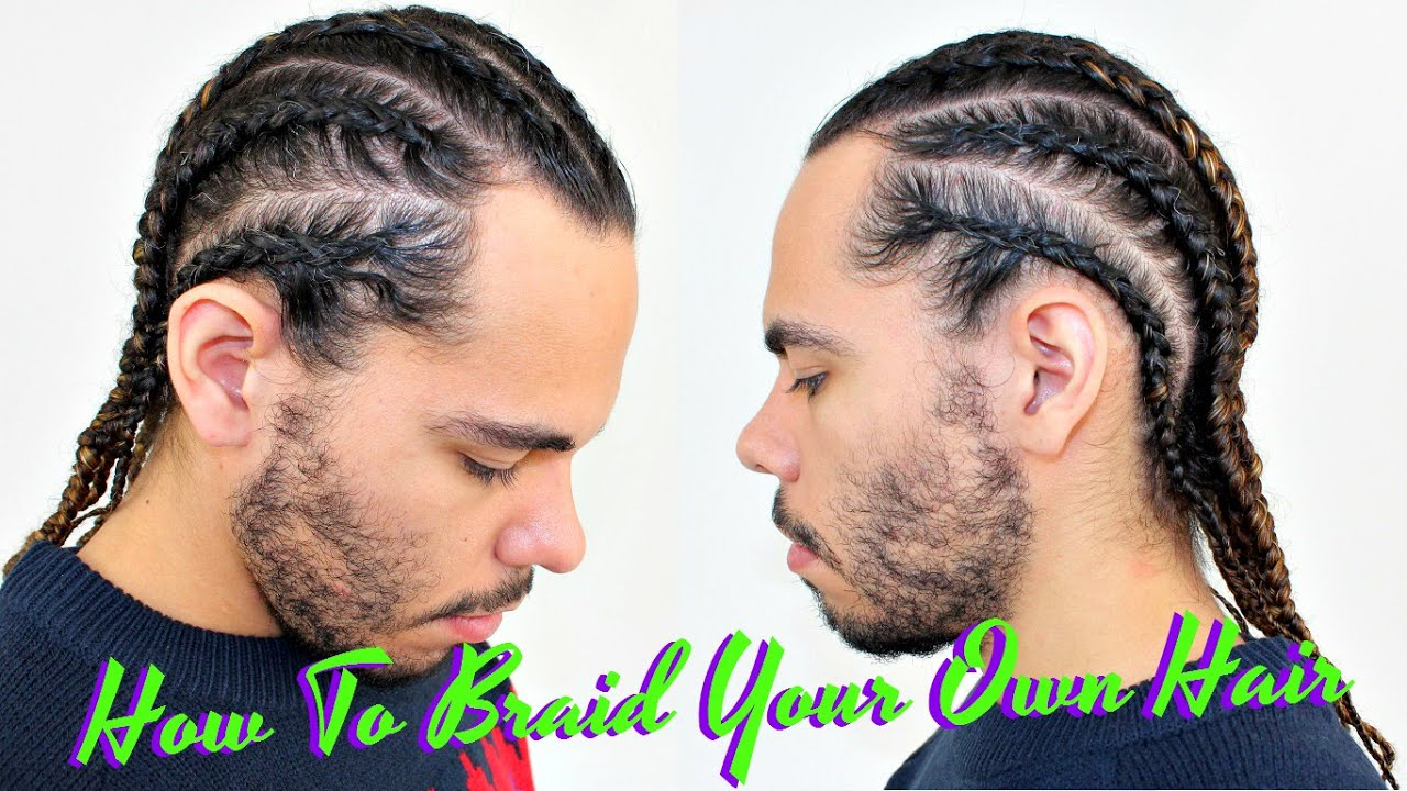 Tutorial How To Braid Cornrow Your Own Hair Protective Style For Curly Hair Men Boxer Braids