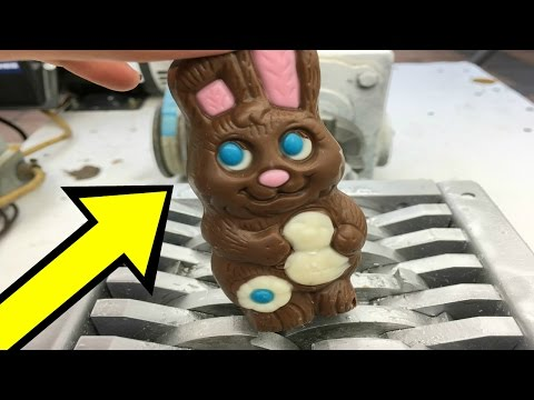 SHREDDING CHOCOLATE EASTER BUNNY IN SHREDDER! Satisfying Videos To Watch 2017  Shredding Stuff
