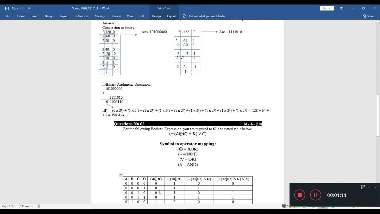 CS101 Assignement 1 Solution Spring 2020
