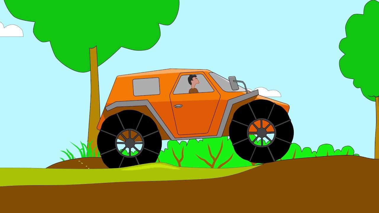 Cartoni animati il puzzle camion trattori e monster truck