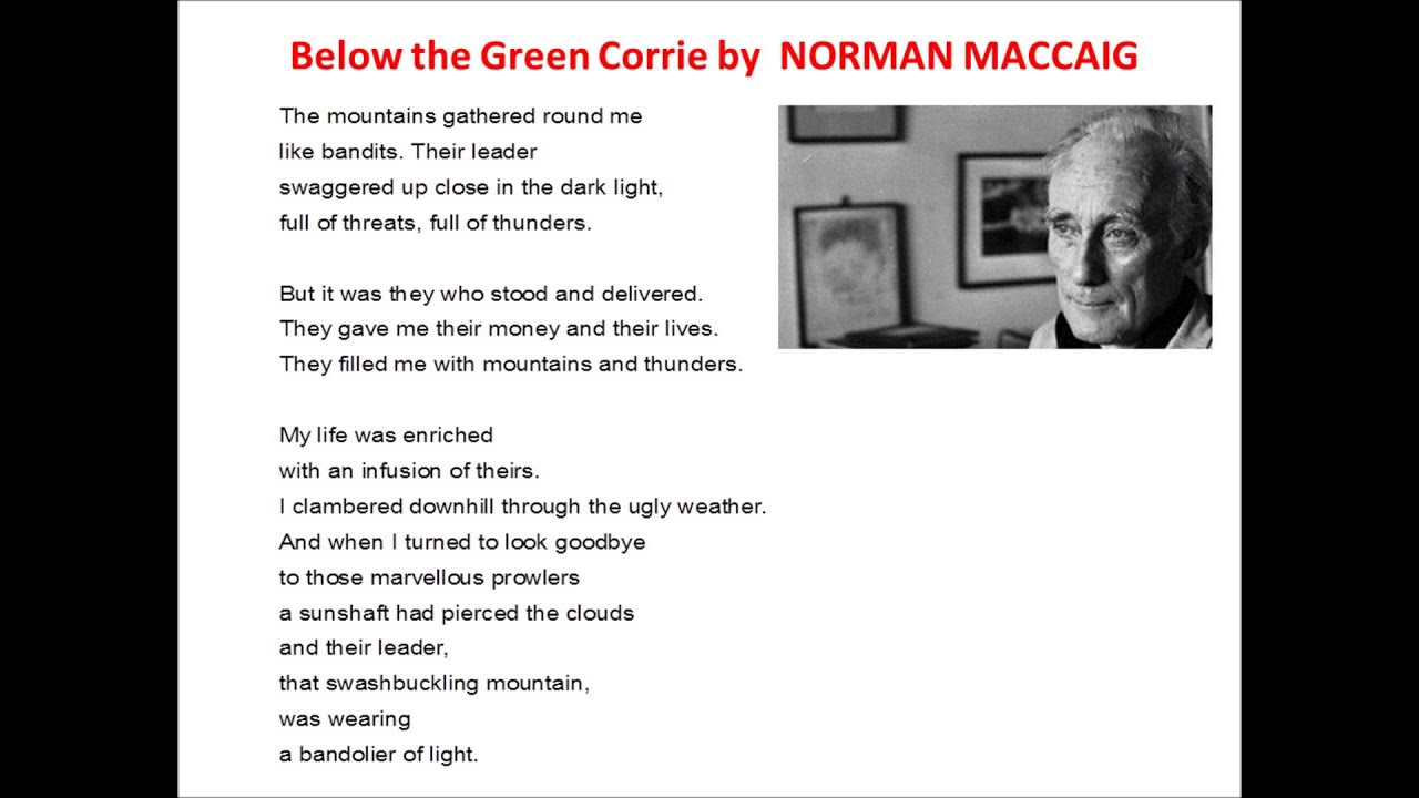 below the green corrie poem