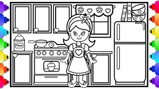 How to Draw a Kitchen Step by Step Easy for Kids 💜🌈💜 Doll House Kitchen Coloring Page GLITTER