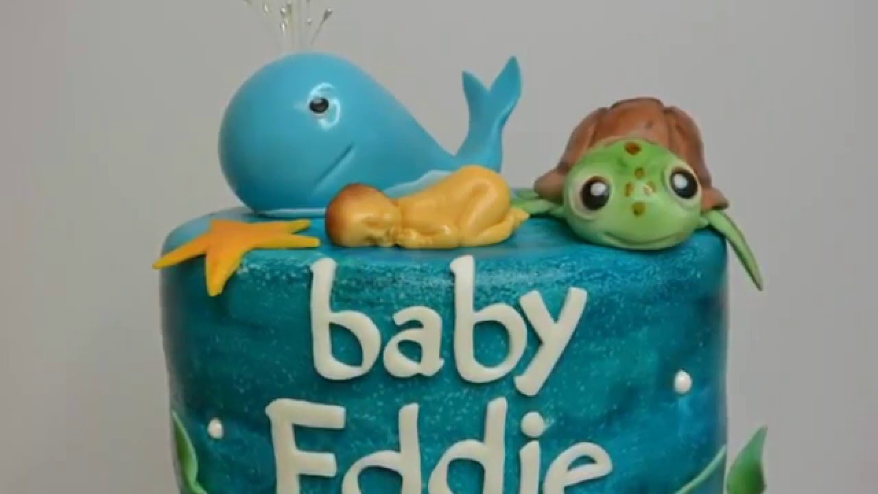 Under The Sea Baby Shower Cake ( Part 1 )   YouTube