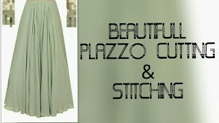 Fancy Floral Umbrella Trouser Palazzo Pants Stiching & Cutting Tutorial