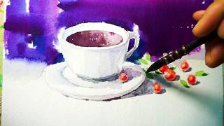 水彩画  How to draw a tea cup in …