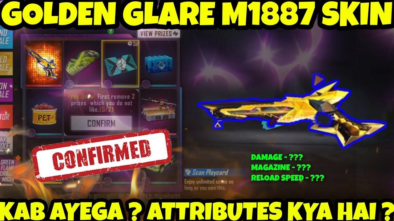 New Golden Glare M1887 Gun Skin    Confirm Date, Attributes, Which Event    Full Detail