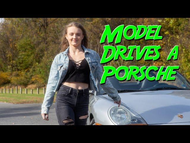 Model drives a Porsche