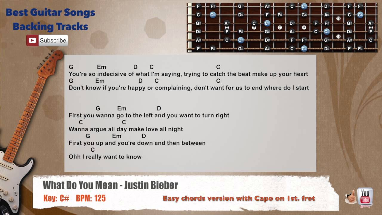 What Do You Mean Justin Bieber Guitar Backing Track With Scale