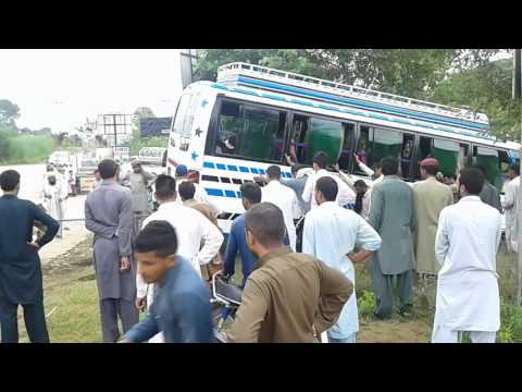 Bus Accident in Dadyal, How it was pulled back on road.