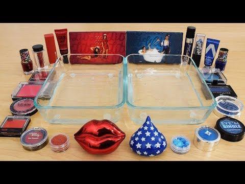 Red vs Blue - Mixing Makeup Eyeshadow Into Slime Special Series 217 Satisfying Slime Video