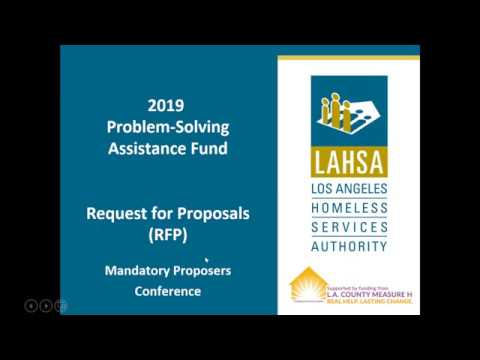 2019 Problem-Solving Assistance Fund RFP Mandatory Proposers Conference