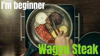 [ASMR] Wagyu Beef Steak Pan Cooking I'm Beginner (와규 스테이크)  Korean Style Simple way