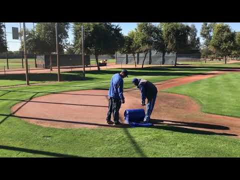 Home plate tarp placement and removal Camelback Ranch