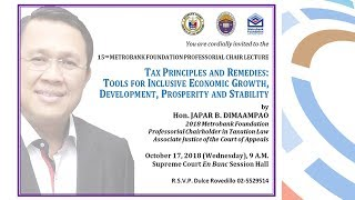 15th Metrobank Foundation Professorial Chair Lecture