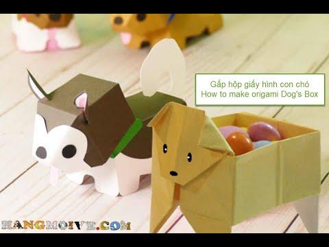 Cách gấp, xếp hộp giấy origami hình con chó - Video #420