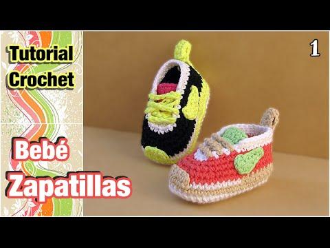 Cómo tejer Zapatillas, patucos, escarpines para bebé a crochet (1 de ...