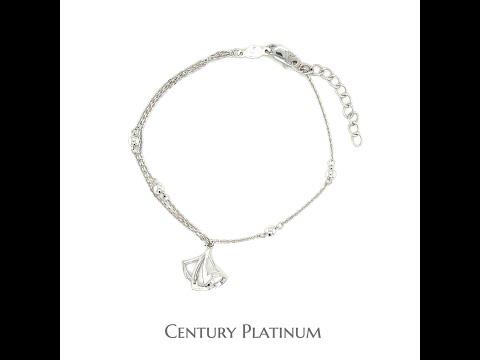 世紀白金 【白金手鍊】可調式 (16~18.5cm) 貝殼含珠 WHA121
