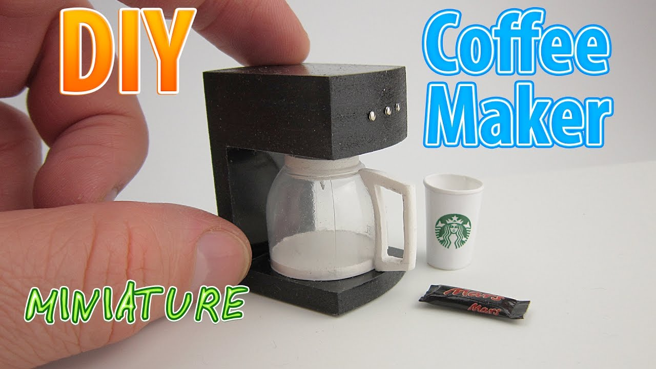 Coffee Maker How To Make : DIY Realistic Miniature Coffee Maker DollHouse No Polymer Clay! - YouTube