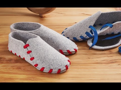 748777a2bd08 Felt Slippers with Interchangeable Laces