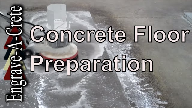 How to clean and prep a concrete floor youtube for Scrubbing concrete floors
