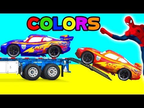 Thumbnail: Spiderman McQueen Color Cars - Funny Superhero Cartoon for Kids Learn Colors & Nursery Rhymes