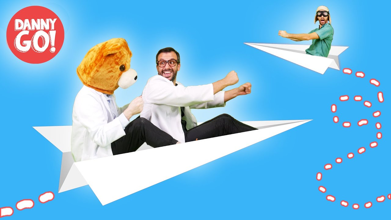 Fly in a Paper Airplane w/ Pap Pap + Bear Head! /// Danny ...