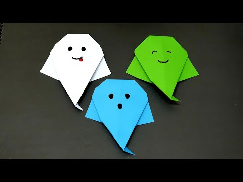 How to make paper origami ghost easy, kids halloween crafts