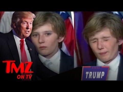 Barron Trump Nearly Fell Asleep During President Trump's Victory Speech | TMZ TV