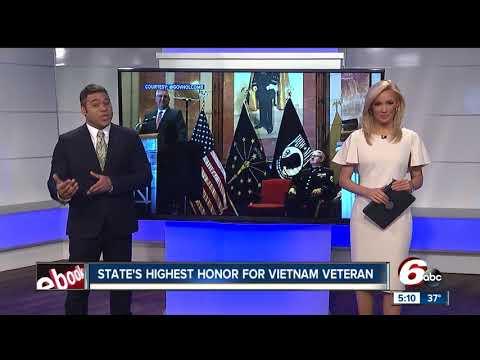 Vietnam veteran awarded Indiana's Sachem Award by Governor Holcomb