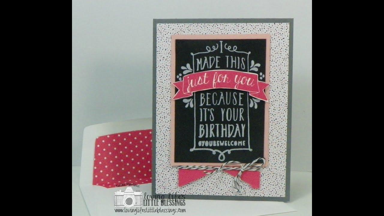 simple diy pink birthday card with stampin' up ballon bash, Birthday card