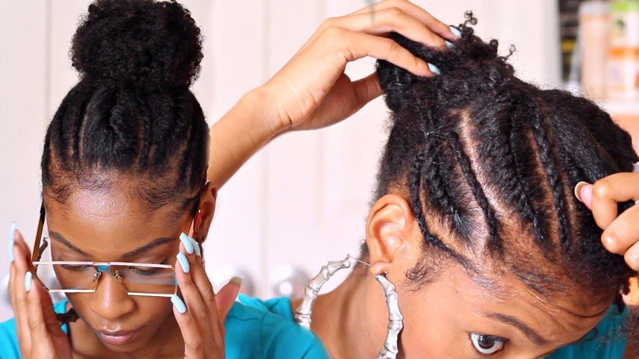 Cornrows Into A Bun On Natural Hair Natural Hairstyles Youtube