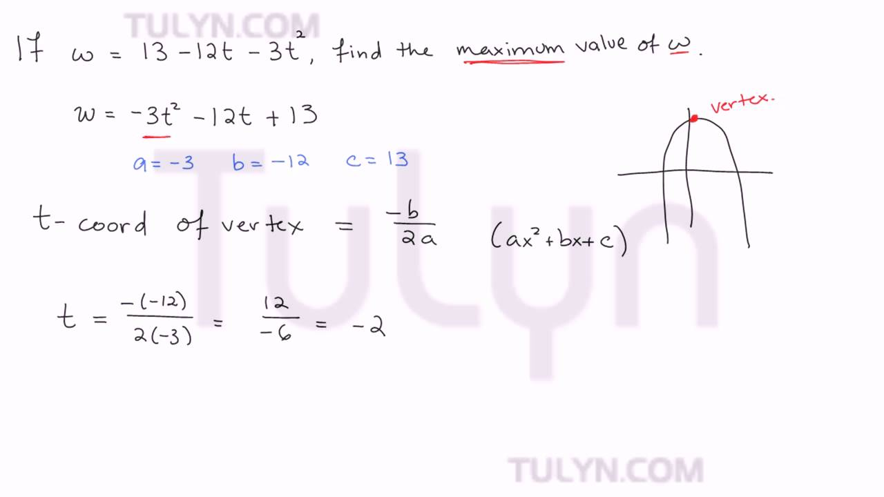Finding the maximum value of a quadratic equation youtube finding the maximum value of a quadratic equation falaconquin