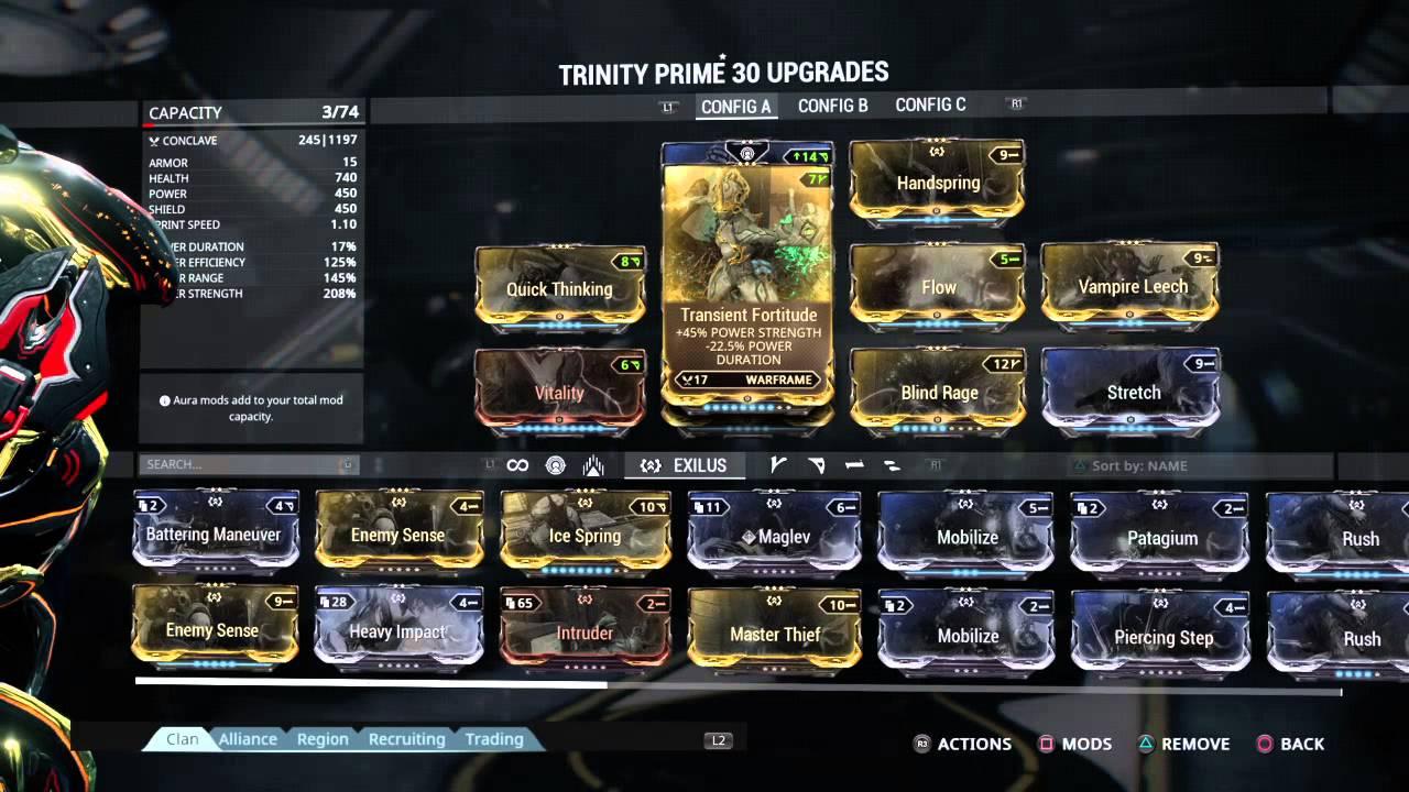Trinity Warframe Build