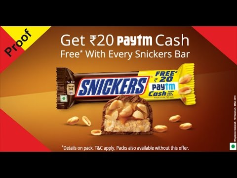 How to use paytm snickers cashback- proof of snickers paytm redeem