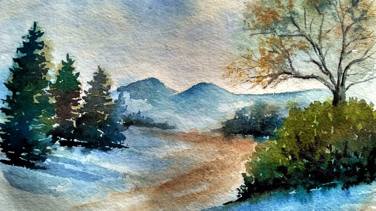 Painting Easy Simple Landscape | Paint with david | - YouTube on Basic Landscaping  id=30817