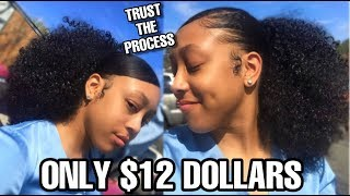 EASY NATURAL SLICK BACK CURLY DRAWSTRING PONYTAIL TUTORIAL ON TYPE 4 HAIR