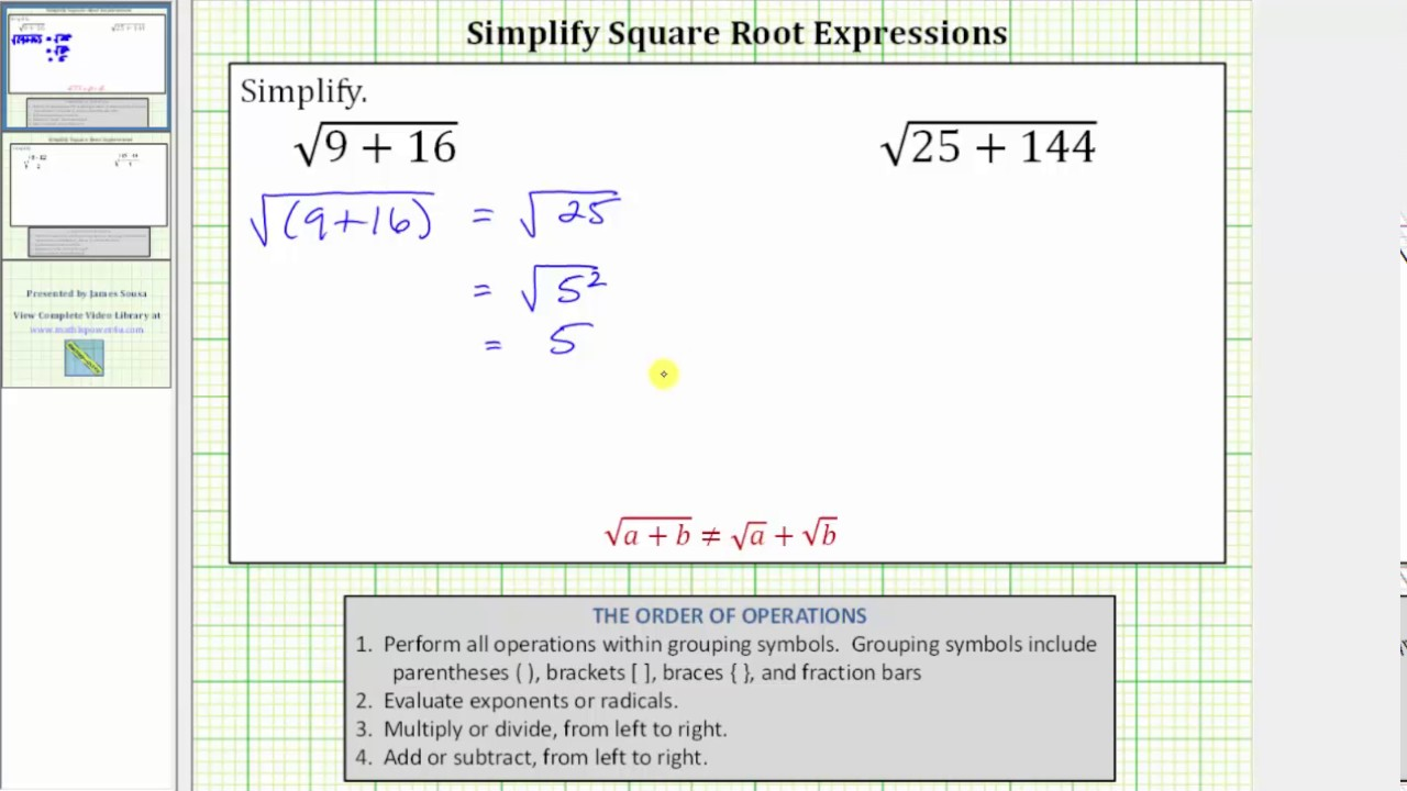 Simplify The Square Root Of A Sum Youtube