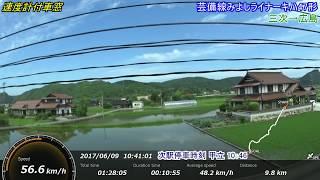 車窓25速度計付き きれいな田園風景が続く芸備線みよしライナー 三次→広島